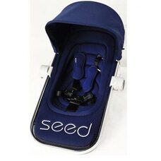 Коляска Seed Papilio Navy, шасси Silver, ручка Cognac, прогулочный блок с подножкой